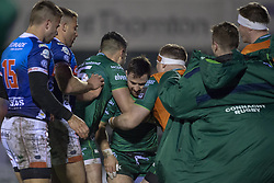 March 22, 2019 - Ireland - Caolin Blade of Connacht celebrates  scoring with teammates during the Guinness PRO14 match between Connacht Rugby and Benetton Rugby at the Sportsground in Galway, Ireland on March 22, 2019  (Credit Image: © Andrew Surma/NurPhoto via ZUMA Press)