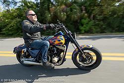 Bob Zeolla riding his custom Harley-Davidson on a ride through Tomoka State Park during Daytona Beach Bike Week, FL. USA. Friday, March 15, 2019. Photography ©2019 Michael Lichter.