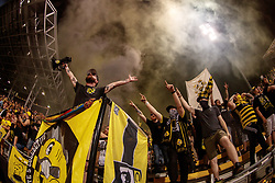 August 11, 2018 - Columbus, OH, U.S. - COLUMBUS, OH - AUGUST 11: Columbus Crew fans celebrate after the MLS regular season game between the Columbus Crew SC and the Houston Dynamo on August 11, 2018 at Mapfre Stadium in Columbus, OH. The Crew won 1-0. (Photo by Adam Lacy/Icon Sportswire) (Credit Image: © Adam Lacy/Icon SMI via ZUMA Press)