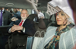 © Licensed to London News Pictures. 12/05/2017. London, UK. Labour party leader Jeremy Corbyn and his wife Laura Alvarez leave Chatham House by car after outlining his national security and foreign policy in a speech. The general election is on June 8, 2016. Photo credit: Peter Macdiarmid/LNP