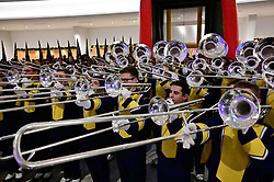 University of Michigan band members participate in a football FanFest at the Marriott Marquis during preparations for the Chick-fil-A Peach Bowl, December 28, 2018, in Atlanta. Michigan will face Florida in the Chick-fil-A Peach Bowl at Mercedes-Benz Stadium on December 29, 2018. (David Tulis via Abell Images for Chick-fil-A Peach Bowl)