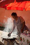 Woman Cooking tortillas, Atononilco, Guanajuato, mexico