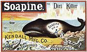 Soapine household cleaner. From late 19th century American  trade card for Kendall Manufacturing Company, Providence, Rhode Island, USA.  Whale blubber was used in some soap products.