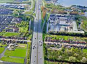 Nederland, Noord-Holland, Zaanstad, 07-05-2021; autosnelweg A8 kruist de Kerkstraat Oostzaan.<br /> Motorway A8 crosses Kerkstraat Oostzaan.<br /> <br /> luchtfoto (toeslag op standaard tarieven);<br /> aerial photo (additional fee required)<br /> copyright © 2021 foto/photo Siebe Swart.