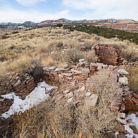 021913       Brian Leddy<br /> The crumbling walls of Anasazi ruins stand on top of a mesa at Fort Wingate at the base of the Zuni Mountains. The former military base is home to numerous cultural sites.