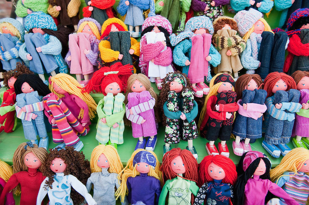 """VENICE, ITALY - DECEMBER 18:  A display of locally handmade dolls at """"l'Altro Natale"""" Christmas market on December 18, 2010 in Venice, Italy. """"L'Altro Natale"""" an alternative Christmas market organised over the busiest shopping week end of the year promotes fair trade and alternative commerce."""