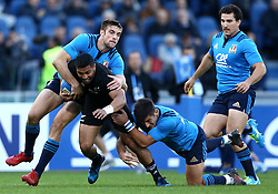 November 12, 2016 - Rome, Italy - Lima Sopoaga of the New Zealand All Blacks tackled by Edoardo Padovani and Tommaso Allan of the Italy Rugby during the international rugby match between New Zealand and Italy at Stadio Olimpico on November 12, 2016 in Rome, Italy. (Credit Image: © Arts Culture And Entertainment/NurPhoto via ZUMA Press)