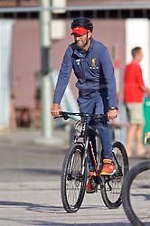 ROTTACH-EGERN, GERMANY - Friday, July 28, 2017: Liverpool's manager Jürgen Klopp on his bike after a training session at FC Rottach-Egern on day three of the preseason training camp in Germany. (Pic by David Rawcliffe/Propaganda)