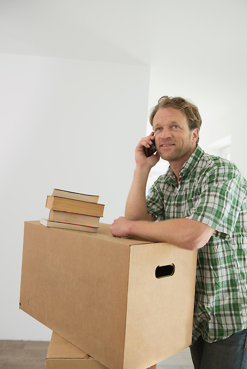Man cell phone communication boxes new home