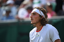 Stefanos Tsitsipas (GRE) during her first round match at the 2019 Wimbledon Championships at the AELTC in London, UK on July 1, 2019. Photo by Corinne Dubreuil/ABACAPRESS.COM