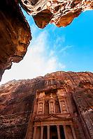 The Treasury monument (Al-Khazneh), Petra archaeological site (a UNESCO World Heritage site), Jordan.