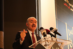 April 27, 2019 - Nablus, Palestine, 27 th April 2019. Palestinian Prime Minister Mohammad Shtayyeh leads at an-Najah University the ceremony marking 150 years of the establishment of the municipality of the West Bank city Nablus. The municipality of Nablus is one of the oldest and largest in Palestine, and the town is a major economic and commercial centre in the West Bank (Credit Image: © Mohammed Turabi/IMAGESLIVE via ZUMA Wire)