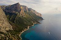 Aerial view of Sardinia island coastal line, Italy.