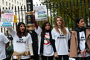 October 20th 2012. Whitehall. Supporters of Malala Yousafzai, 15 year old Pakistani school student and educational activist shot by Taliban in Mingora, Pakistan, and now recovering in London.
