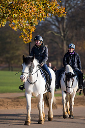 © Licensed to London News Pictures. 26/11/2016. London, UK. A group of young women riding horses on a bright and sunny Autumn morning in Hyde Park, London. Photo credit: Ben Cawthra/LNP