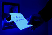 """A hand tugs on a glowing roll of toilet paper that is marked """"The End Is Near"""".  Blacklight photography."""
