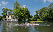 """Henley. Berks, United Kingdom. <br /> <br /> """"Coxed fours"""" pass the """"Temple Island Folly"""", during the 2017 Henley' Women's Regatta. Rowing on, Henley Reach. River Thames. <br /> <br /> Saturday  17/06/2017<br /> <br /> <br /> [Mandatory Credit Peter SPURRIER/Intersport Images]"""