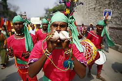 April 5, 2017 - Kathmandu, Nepal - Hindu devotees play traditional instruments while celebrating Ram or Rama Navami, a Hindu festival that celebrates the birthday of God Ram in Kathmandu, Nepal on Wednesday, April 5, 2017. (Credit Image: © Skanda Gautam via ZUMA Wire)