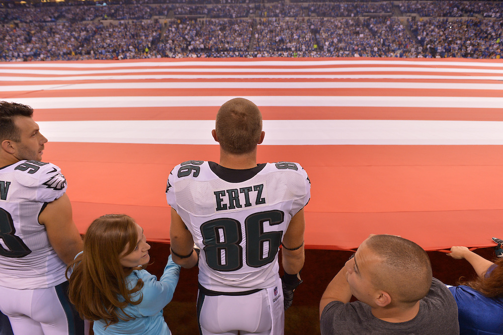 Zach Ertz #86 of the Philadelphia Eagles against the Indianapolis Colts at Lucas Oil Stadium on September 15, 2014 in Indianapolis, Pennsylvania. The Eagles won 30-27. (Photo by Drew Hallowell/Philadelphia Eagles)
