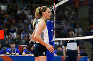 BANGKOK, THAILAND - MAY 31: Lauren Gibbemeyer #8 of USA in action on Day 3 match between Thailand vs USA at the FIVB Volleyball Nation League 2018, Indoor Stadium Huamark, Bangkok, Thailand on May 31, 2018. <br /> .<br /> .<br /> .<br /> (Photo by: Naratip Golf Srisupab/SEALs Sports Images)<br /> .<br /> Any image use must include a mandatory credit line adjacent to the content which should read: Naratip Golf Srisupab/SEALs Sports Images