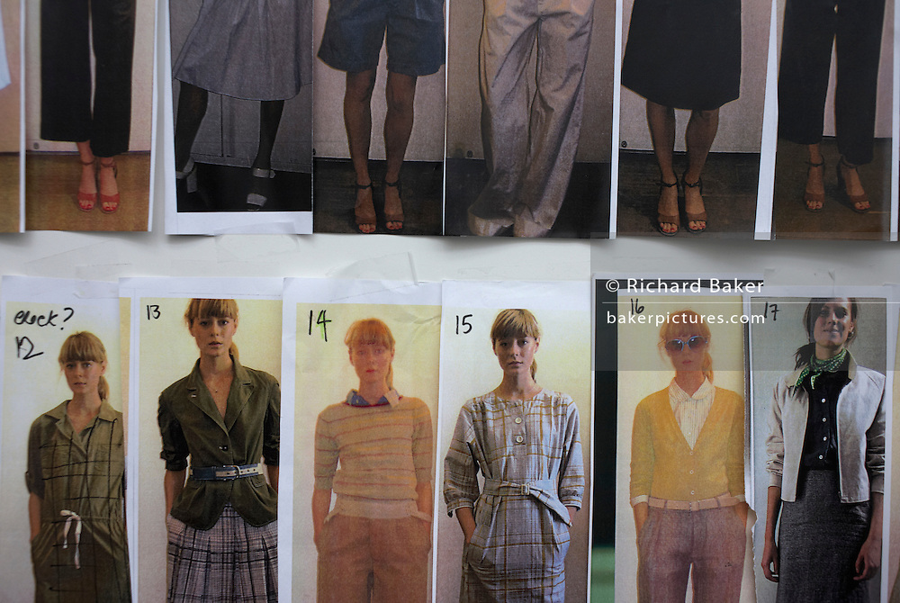 Clothes and model running order at British couture designer Margaret Howell's Autumn fashion show in her design studio and shop
