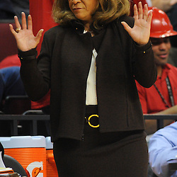 Rutgers Scarlet Knights head coach C. Vivian Stringer shows her mood during second half NCAA Big East women's basketball action between Notre Dame and Rutgers at the Louis Brown Athletic Center. Notre Dame defeated Rutgers 71-41.
