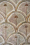 Pictures of a geometric  Roman mosaics design depicting peacock tail feathers, from the ancient Roman city of Thysdrus. 3rd century AD. El Djem Archaeological Museum, El Djem, Tunisia. .<br /> <br /> If you prefer to buy from our ALAMY PHOTO LIBRARY Collection visit : https://www.alamy.com/portfolio/paul-williams-funkystock/roman-mosaic.html . Type - El Djem - into the LOWER SEARCH WITHIN GALLERY box. Refine search by adding background colour, place, museum etc<br /> <br /> Visit our ROMAN MOSAIC PHOTO COLLECTIONS for more photos to download as wall art prints https://funkystock.photoshelter.com/gallery-collection/Roman-Mosaics-Art-Pictures-Images/C0000LcfNel7FpLI