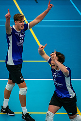 Mees Blom of Vocasa, Daan Haanappel of Vocasa in action during the first league match in the corona lockdown between Talentteam Papendal vs. Vocasa on January 13, 2021 in Ede.