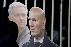 The life size cutouts of Manchester United manager Jose Mourinho and Zinedine Zidane outside the ground before the Premier League match at Old Trafford, Manchester.
