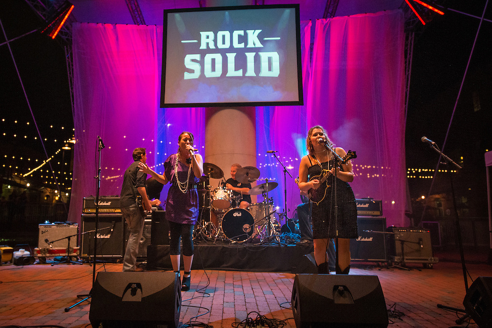 Rock SOLID (SunTrust Bank) performing at the corporate Battle of the Bands at the American Tobacco campus in Durham, North Carolina on September 22, 2012
