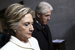 January 20, 2017 - Washington, District Of Columbia, U.S - Former Sen. HILLARY CLINTON and former President BILL CLINTON arrive on the West Front of the U.S. Capitol on Friday, Jan. 20, 2017, in Washington, for the inauguration ceremony of Trump as the 45th president of the United States. (Credit Image: © Win Mcnamee/Pool via ZUMA Wire)