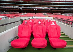 A general view of the dugout at Wembley Stadium, London. PRESS ASSOCIATION Photo. Issue date: Tuesday May 23, 2017. Photo credit should read: Steve Parsons/PA Wire
