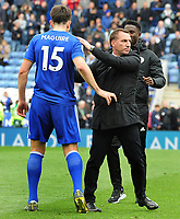 Football - 2018 / 2019 Premier League - Leicester City vs. Arsenal<br /> <br /> Leicester City Manager Brendan Rodgers, congratulates Harry Maguire after the match at King Power Stadium.<br /> <br /> COLORSPORT/ANDREW COWIE