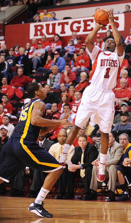 Feb 22, 2009; Piscataway, NJ, USA; Rutgers guard Corey Chandler (1) takes a shot during the first half of Rutgers' 74-56 loss to West Virginia at the Louis Brown Athletic Center.