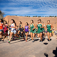 Girls varsity cross country at the start of the Curtis Williams Invitational, Saturday Oct. 6, 2018 at Red Rock Park in Church Rock.