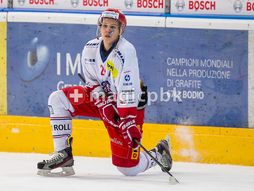 Rapperswil-Jona Lakers forward Lars Mathis reacts after a 3-1 defeat in the fifth and final Elite A /B league qualification ice hockey game between HC Ambri-Piotta and Rapperswil-Jona Lakers in Ambri, Switzerland, Saturday, March 31, 2018. (Photo by Patrick B. Kraemer / MAGICPBK)