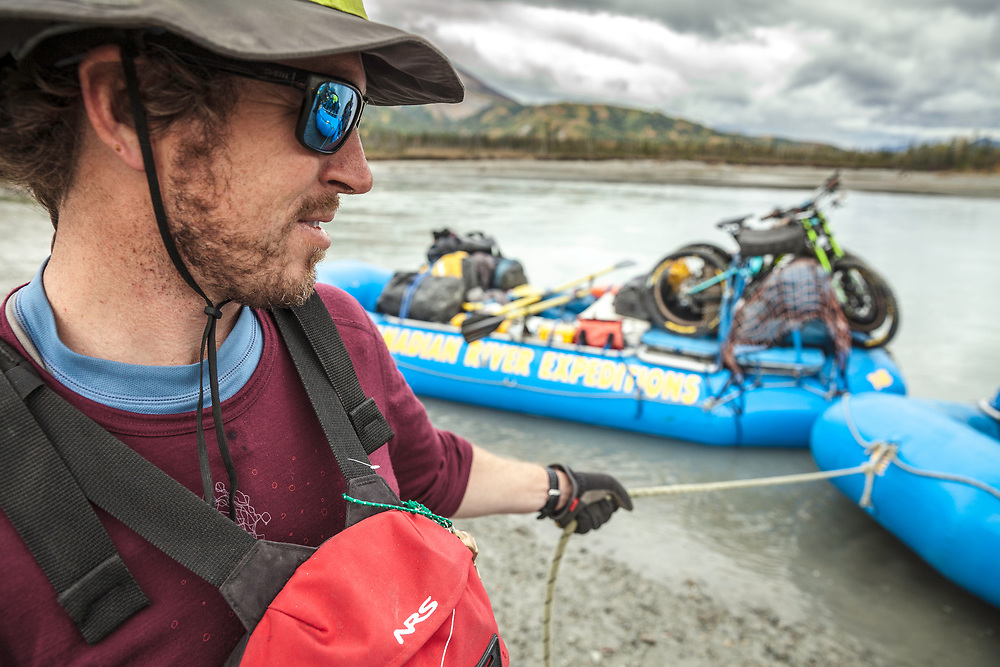 Dave Prothero, one of our 5 river guides bring the rafts to shore at the end of the day in the Tatshenshini-Alsek Provincial Park in British Columbia, Canada on September 2, 2016.