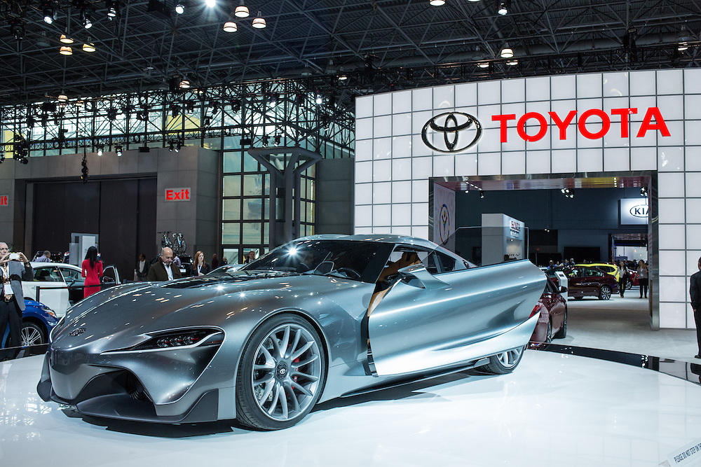 New York, NY - 1 April 2015. Toyota shows its FT-1 front engine, rear drive concept car at the New York International Auto Show. The car is designed for track use.