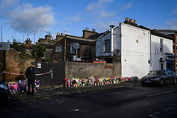 © Licensed to London News Pictures. 04/04/2018. London, UK. Floral tributes left on Chalgrove Road, Tottenham, north London, the scene where 17 year old Tanesha Melbourne, was shot dead on Monday. A recent spree of killings in the capital has taken the murder toll for the year so far to 48. Photo credit: Ben Cawthra/LNP