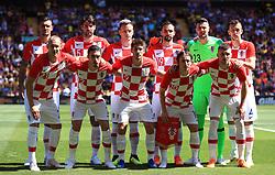 Croatia's team group (left to right) Top row: Dejan Lovren, Vedran Corluka, Ivan Rakitic, Milan Badelj, Danijel Subasic and Ivan Perisic. Bottom row: Domagoj Vida, Sime Vrsaljko, Andrej Kramaric, Luka Modric and Ante Rebic