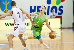 Arturs Bricis of Latvia faulted Klemen Prepelic of Slovenia during basketball match between National teams of Latvia and Slovenia in Qualifying Round of U20 Men European Championship Slovenia 2012, on July 16, 2012 in Domzale, Slovenia. Slovenia defeated Latvia 69-62. (Photo by Vid Ponikvar / Sportida.com)