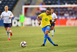 February 27, 2019 - Chester, PA, U.S. - CHESTER, PA - FEBRUARY 27: Brazil Forward Marta (10) makes a pass in the second half during the She Believes Cup game between Brazil and England on February 27, 2019 at Talen Energy Stadium in Chester, PA. (Photo by Kyle Ross/Icon Sportswire) (Credit Image: © Kyle Ross/Icon SMI via ZUMA Press)