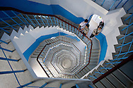 A tall spiral staircase will take you to the top of Cien Pagoda.