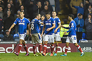 Portsmouth Players Celebrate Portsmouth Midfielder, Carl Baker (7) goal 3-0 during the EFL Sky Bet League 2 match between Portsmouth and Mansfield Town at Fratton Park, Portsmouth, England on 12 November 2016. Photo by Adam Rivers.