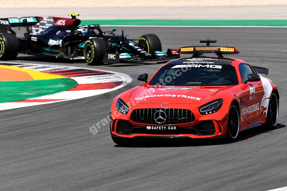 Safety car leads Valtteri Bottas (Mercedes) during the 2021 Portuguese Grand Prix in Portimao.. Photo: Grand Prix Photo