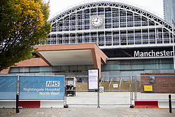 © Licensed to London News Pictures. 19/10/2020. Manchester, UK. The Nightingale Hospital North West at the Manchester Central conference centre. Manchester is on the verge of a Tier 3 lockdown Photo credit: Kerry Elsworth/LNP