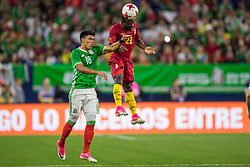 June 28, 2017: Ghana midfielder Frank Acheampong (22) heads the ball in front of Mexico midfielder Jess Gallardo (18) during the 1st half of an international soccer friendly match between Mexico and Ghana at NRG Stadium in Houston, TX. ..Trask Smith/CSM(Credit Image: © Trask Smith/CSM via ZUMA Wire)