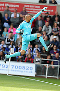 Watford goalkeeper Heurelho Gomes celebrates after Watford score their 1st goal scored by Andre Gray.   Premier league match, Swansea city v Watford at the Liberty Stadium in Swansea, South Wales on Saturday 23rd September 2017.<br /> pic by  Andrew Orchard, Andrew Orchard sports photography.