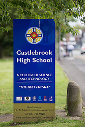 © Licensed to London News Pictures . FILE PICTURE DATED 26/06/2014 of Castlebrook High School , Parr Lane , Bury as a 14 year old student has been arrested for wounding with intent after a 15 year old student was stabbed in the neck with a pair of scissors , yesterday (24th June 2015) . Photo credit : Joel Goodman/LNP