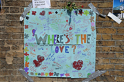 A poster by children left close to Finsbury Park Mosque in north London, after a van was driven into pedestrians near the north London mosque, leaving one man dead and eight injured.